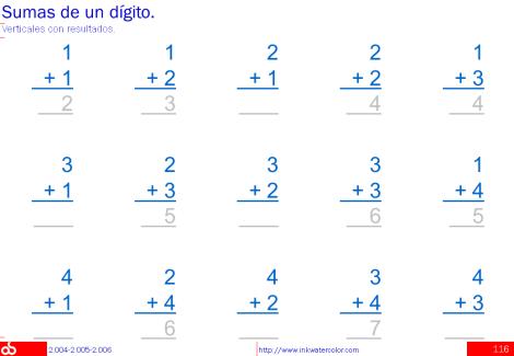 Multiplicación, 1 dígito, vertical y horizontal; Sumas y restas ...