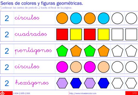 Series numéricas, de colores y figuras geométricas; Series de ...